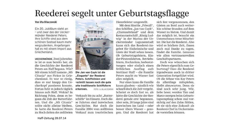 Geburtstag der Reederei  Peters im Seebad Ueckermünde