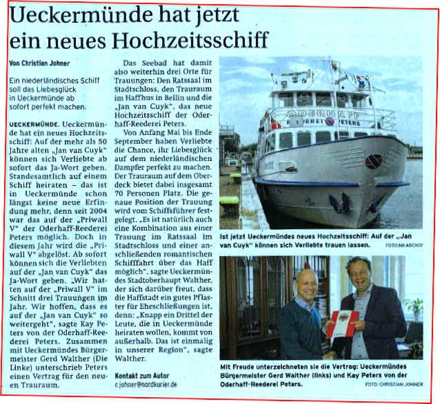 Heiraten Ueckermünde auf dem Schiff
